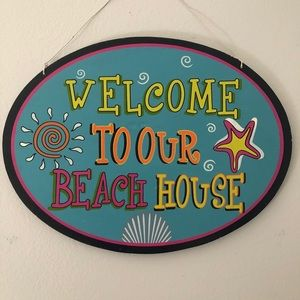"""Welcome to Our Beach House"" Oval Wood Sign"